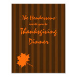 "Brown Fall Stripes Thanksgiving Dinner Invite 1 4.25"" X 5.5"" Invitation Card"