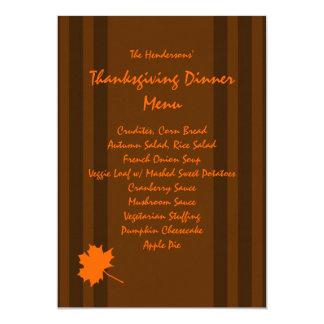 Brown Fall Stripes Thanksgiving Dinner Menu Card