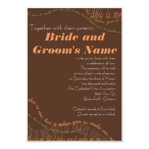 Brown Fall Wedding Invitation