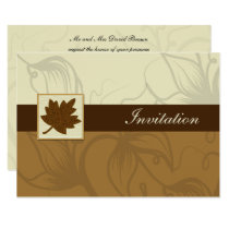 brown fall wedding Invitation cards
