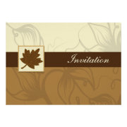 brown maple leaf fall wedding invites by mgdezigns