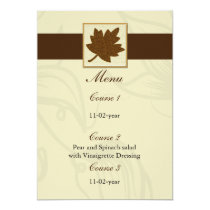 brown fall wedding menu card