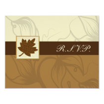 brown  fall wedding rsvp cards