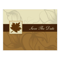 brown fall wedding save the date announcement postcard