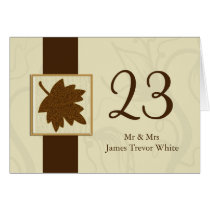 brown fall wedding table seating card