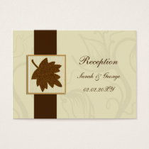 brown falling maple leaf  wedding Reception Cards