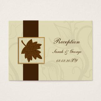 brown falling maple leaf  wedding Reception Cards
