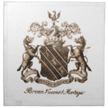 BROWN FAMILY CREST CLOTH NAPKINS