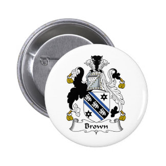 Brown Family Crest Pinback Button