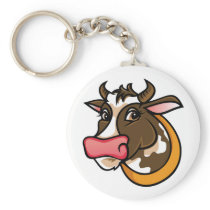 Brown Farm Cow Keychain
