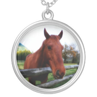 Brown Farm Horse and Fence Rail Round Pendant Necklace