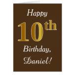 [ Thumbnail: Brown, Faux Gold 10th Birthday + Custom Name ]