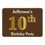 [ Thumbnail: Brown, Faux Gold 10th Birthday Party; Custom Name Invitation ]