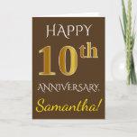 [ Thumbnail: Brown, Faux Gold 10th Wedding Anniversary + Name Card ]