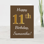 [ Thumbnail: Brown, Faux Gold 11th Birthday + Custom Name Card ]