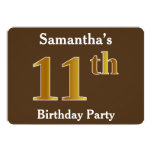 [ Thumbnail: Brown, Faux Gold 11th Birthday Party; Custom Name Invitation ]