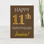 [ Thumbnail: Brown, Faux Gold 11th Wedding Anniversary + Name Card ]