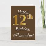 [ Thumbnail: Brown, Faux Gold 12th Birthday + Custom Name Card ]