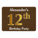 [ Thumbnail: Brown, Faux Gold 12th Birthday Party; Custom Name Invitation ]