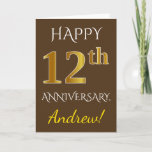 [ Thumbnail: Brown, Faux Gold 12th Wedding Anniversary + Name Card ]