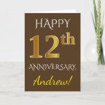 [ Thumbnail: Brown, Faux Gold 12th Wedding Anniversary + Name Card ]