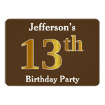 [ Thumbnail: Brown, Faux Gold 13th Birthday Party; Custom Name Invitation ]