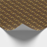 [ Thumbnail: Brown, Faux Gold 13th (Thirteenth) Event Wrapping Paper ]