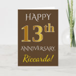 [ Thumbnail: Brown, Faux Gold 13th Wedding Anniversary + Name Card ]
