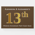 [ Thumbnail: Brown, Faux Gold 13th Wedding Anniversary Party Guest Book ]