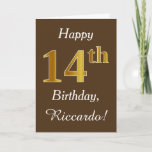 [ Thumbnail: Brown, Faux Gold 14th Birthday + Custom Name Card ]