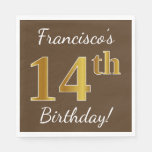 [ Thumbnail: Brown, Faux Gold 14th Birthday + Custom Name Paper Napkin ]