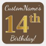 [ Thumbnail: Brown, Faux Gold 14th Birthday + Custom Name Sticker ]