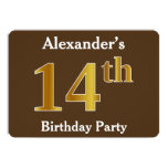 [ Thumbnail: Brown, Faux Gold 14th Birthday Party; Custom Name Invitation ]