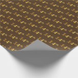 [ Thumbnail: Brown, Faux Gold 14th (Fourteenth) Event Wrapping Paper ]