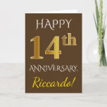 [ Thumbnail: Brown, Faux Gold 14th Wedding Anniversary + Name Card ]