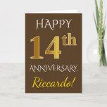 [ Thumbnail: Brown, Faux Gold 14th Wedding Anniversary + Name Card ]