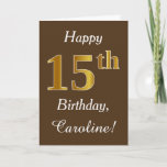 [ Thumbnail: Brown, Faux Gold 15th Birthday + Custom Name Card ]