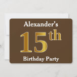 [ Thumbnail: Brown, Faux Gold 15th Birthday Party; Custom Name Invitation ]