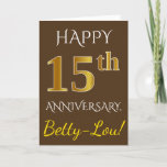[ Thumbnail: Brown, Faux Gold 15th Wedding Anniversary + Name Card ]