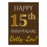 [ Thumbnail: Brown, Faux Gold 15th Wedding Anniversary + Name Card ]