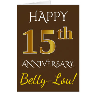 Brown, Faux Gold 15th Wedding Anniversary   Name Card