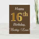 [ Thumbnail: Brown, Faux Gold 16th Birthday + Custom Name Card ]