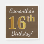 [ Thumbnail: Brown, Faux Gold 16th Birthday + Custom Name Paper Napkin ]