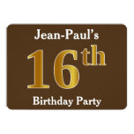 [ Thumbnail: Brown, Faux Gold 16th Birthday Party; Custom Name Invitation ]