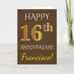 [ Thumbnail: Brown, Faux Gold 16th Wedding Anniversary + Name Card ]