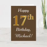 [ Thumbnail: Brown, Faux Gold 17th Birthday + Custom Name Card ]