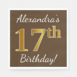 [ Thumbnail: Brown, Faux Gold 17th Birthday + Custom Name Napkin ]