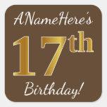 [ Thumbnail: Brown, Faux Gold 17th Birthday + Custom Name Sticker ]