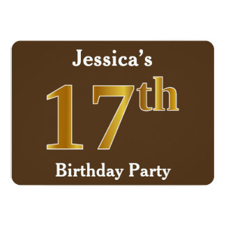 Brown, Faux Gold 17th Birthday Party; Custom Name Card