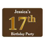 [ Thumbnail: Brown, Faux Gold 17th Birthday Party; Custom Name Invitation ]
